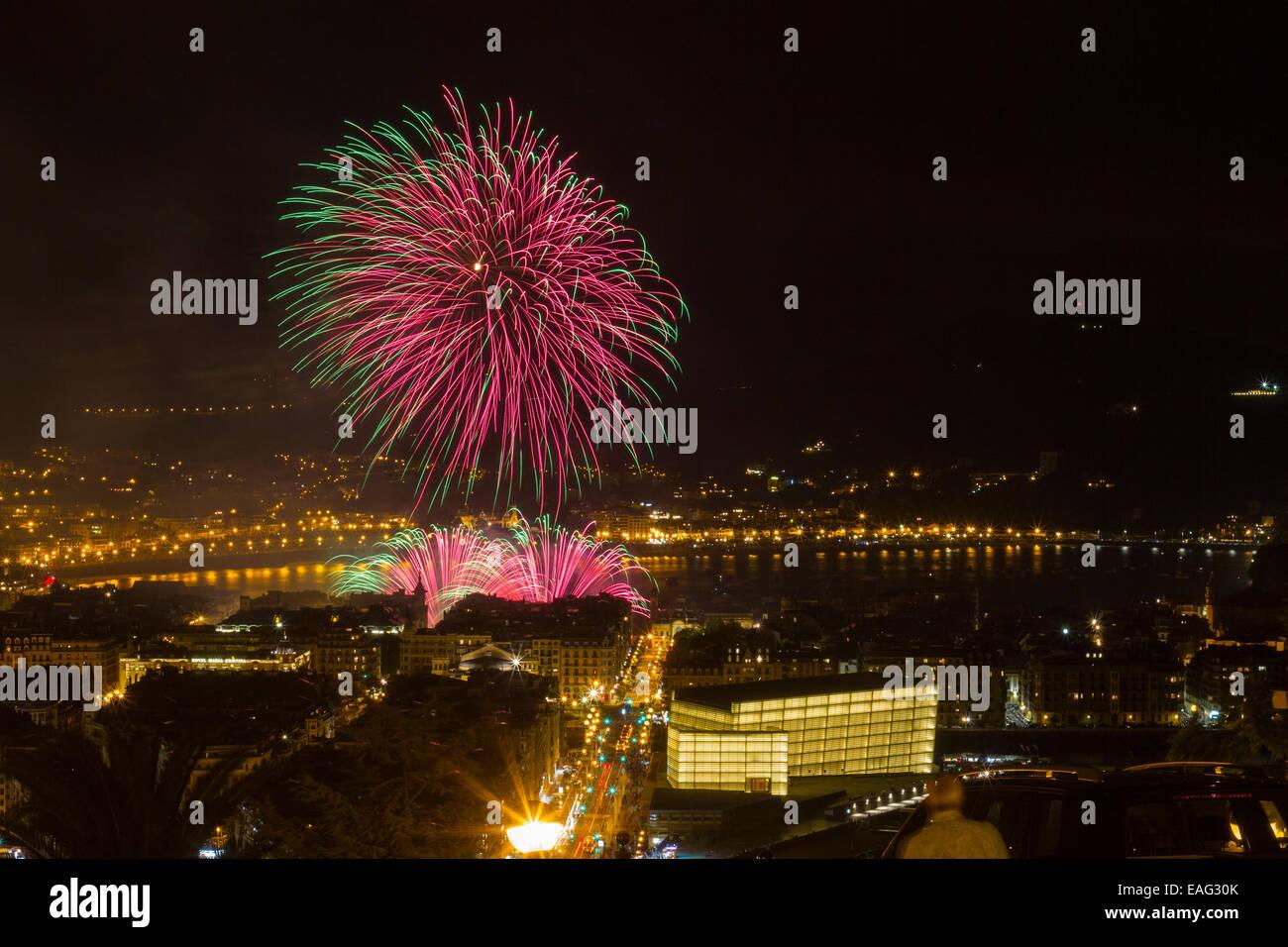 Fireworks in Donostia - San Sebastian. - Stock Image
