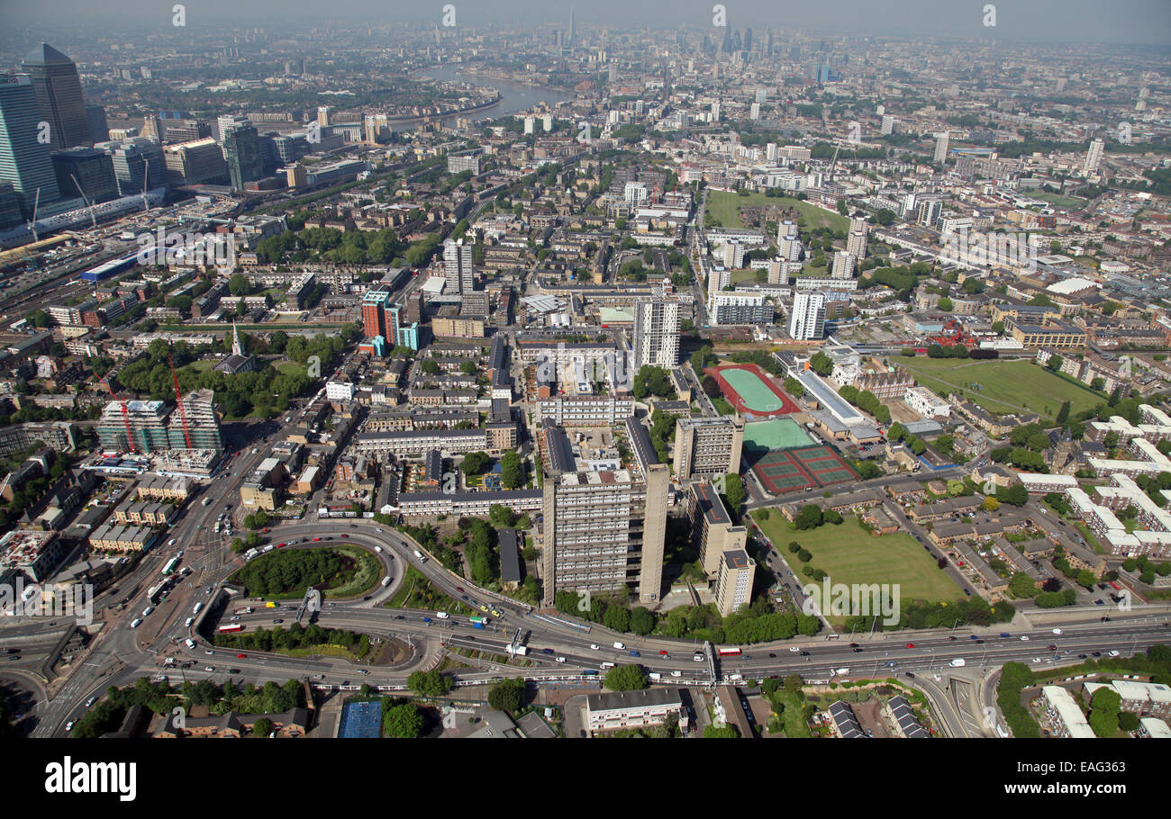 aerial view of Poplar in East London looking west along the A13 towards the city, the A12 is in the foreground - Stock Image