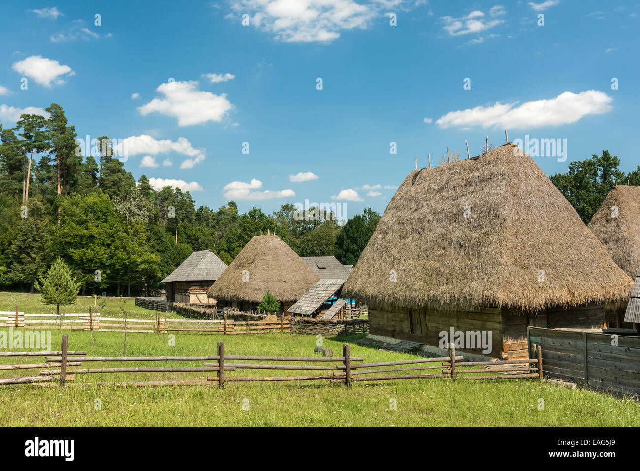 Old Romanian Village View In The Carpathian Mountains Stock Photo