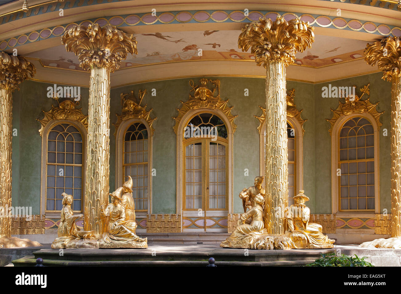 Chinese House / Chinesisches Haus, garden pavilion in the Chinoiserie style in Sanssouci Park in Potsdam, Brandenburg, - Stock Image