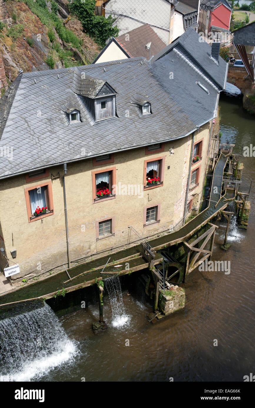 Hackenberger Muehle water mill on Leuk River Saarburg Saarland Germany - Stock Image