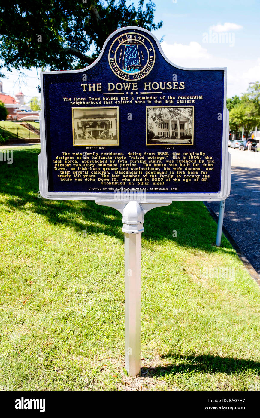 Historic Plaque for the site of the Dowe Houses in Montgomery Alabama - Stock Image