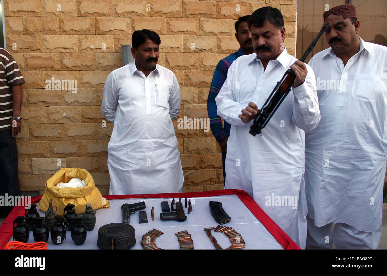 CID Police staffs showing seized ammunition recovered from