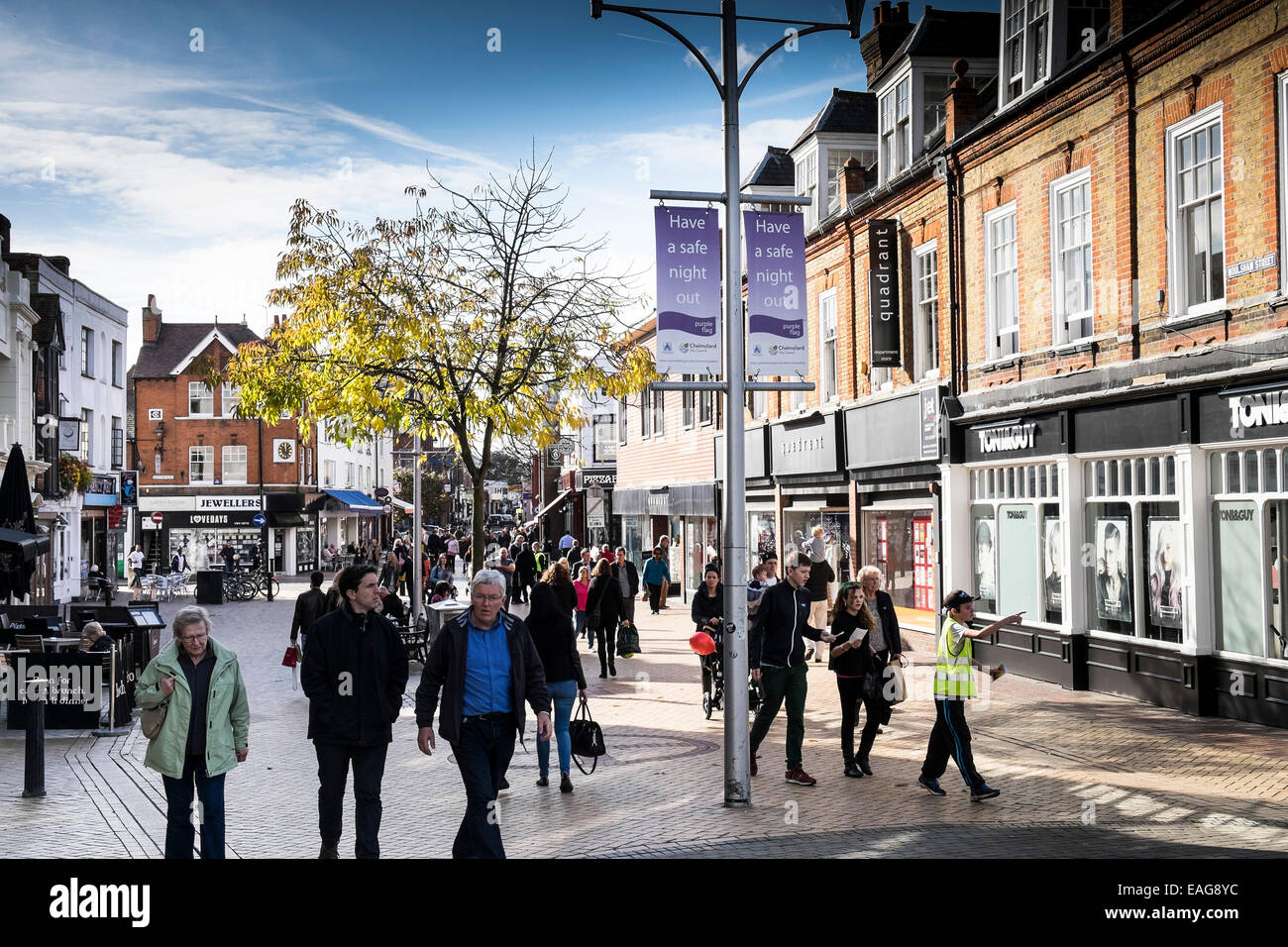 Shoppers in Chelmsford City Centre. - Stock Image