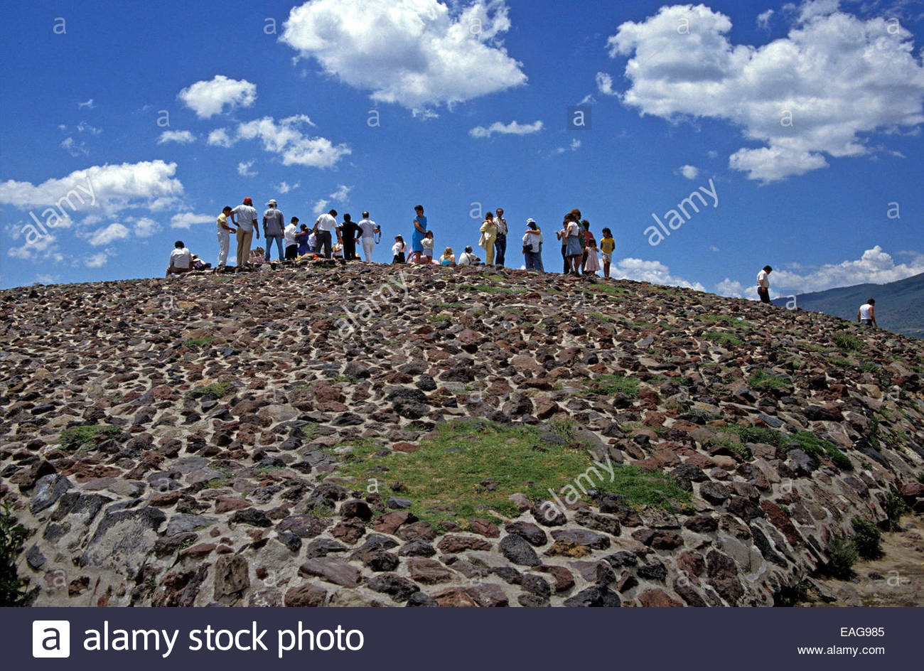 Mexico, archeological site of Teotihuacan, the top of the Pyramid of the Sun - Stock Image