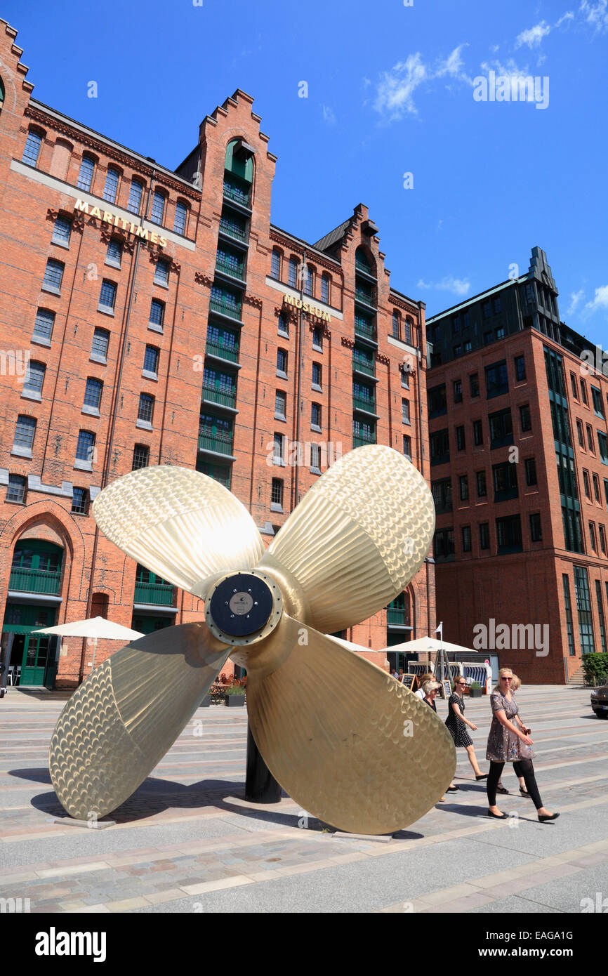Ship´s propeller in front of Maritime Museum, Hafencity, Hamburg, Germany, Europe - Stock Image