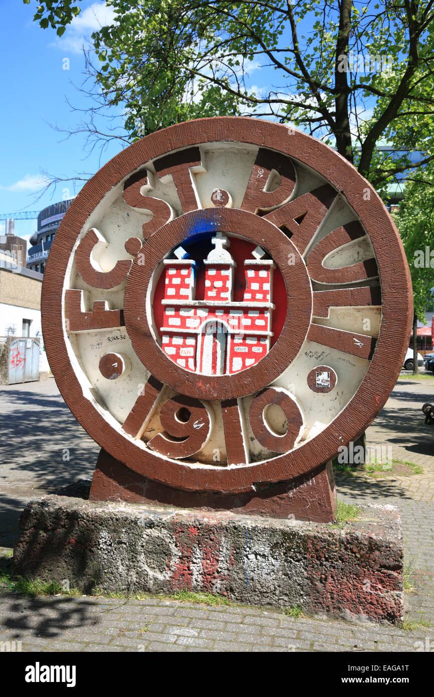 Club emblem of Football Club  FC St. Pauli,  Millerntor Stadium, Hamburg, Germany, Europe - Stock Image