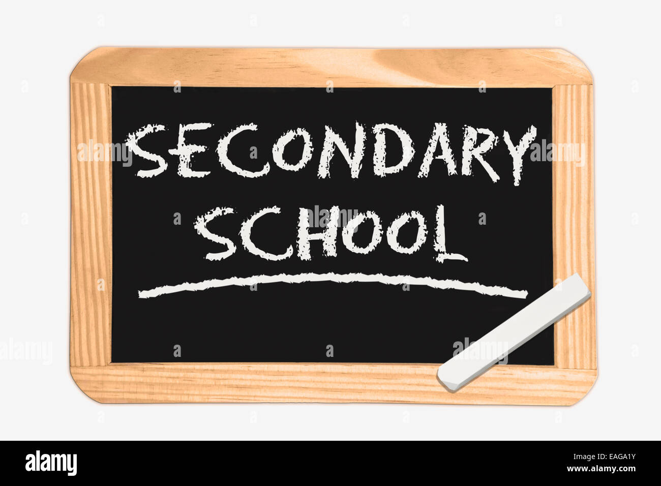 Blackboard with the inscription Secondary School, a piece of white chalk in the corner - Stock Image