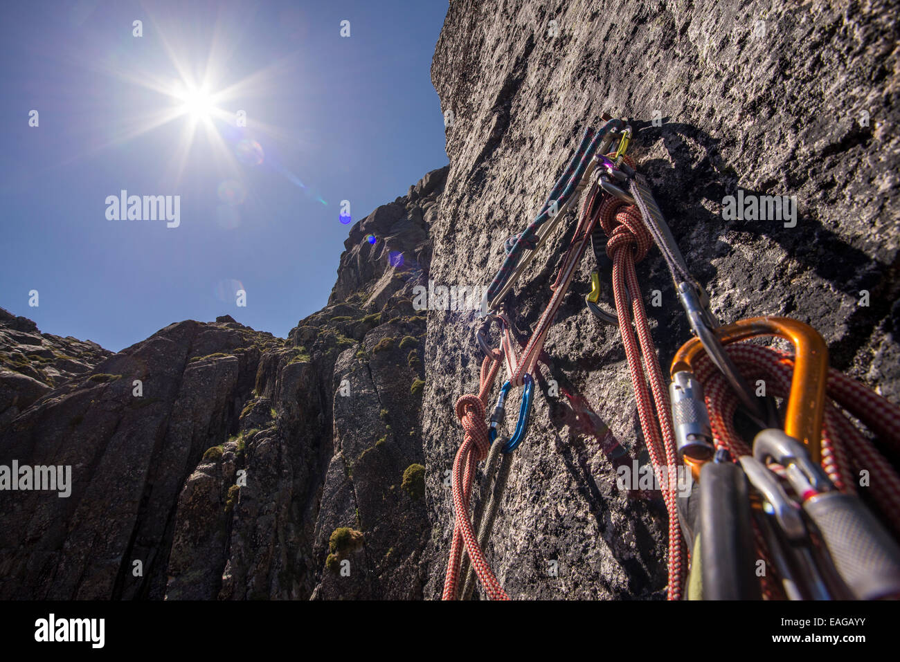 A busy belay. - Stock Image