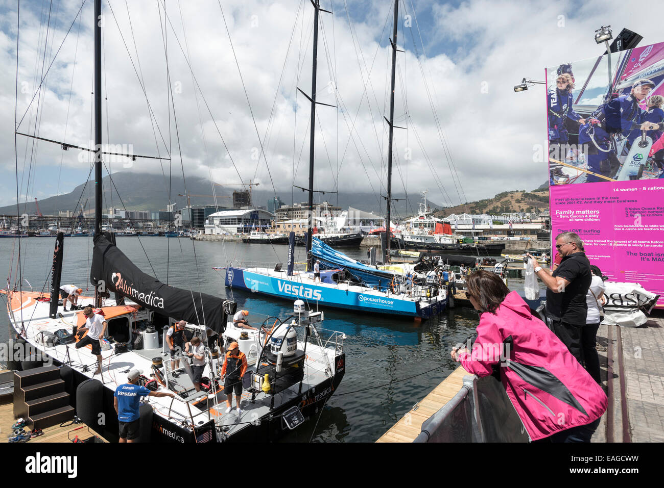 Audience watching preparations for in harbour race, Volvo Ocean Race 2014-2015, Cape Town, South Africa - Stock Image