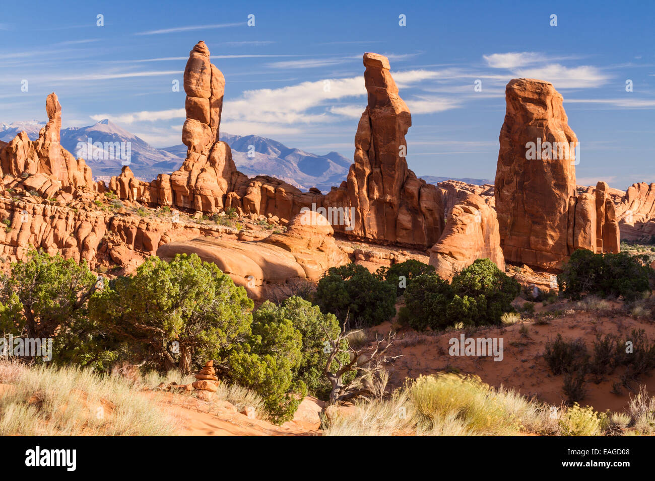 Four 'Marching Men' sandstone pillars in front of the La Sal Mountains in the Klondike Bluffs area of Arches - Stock Image