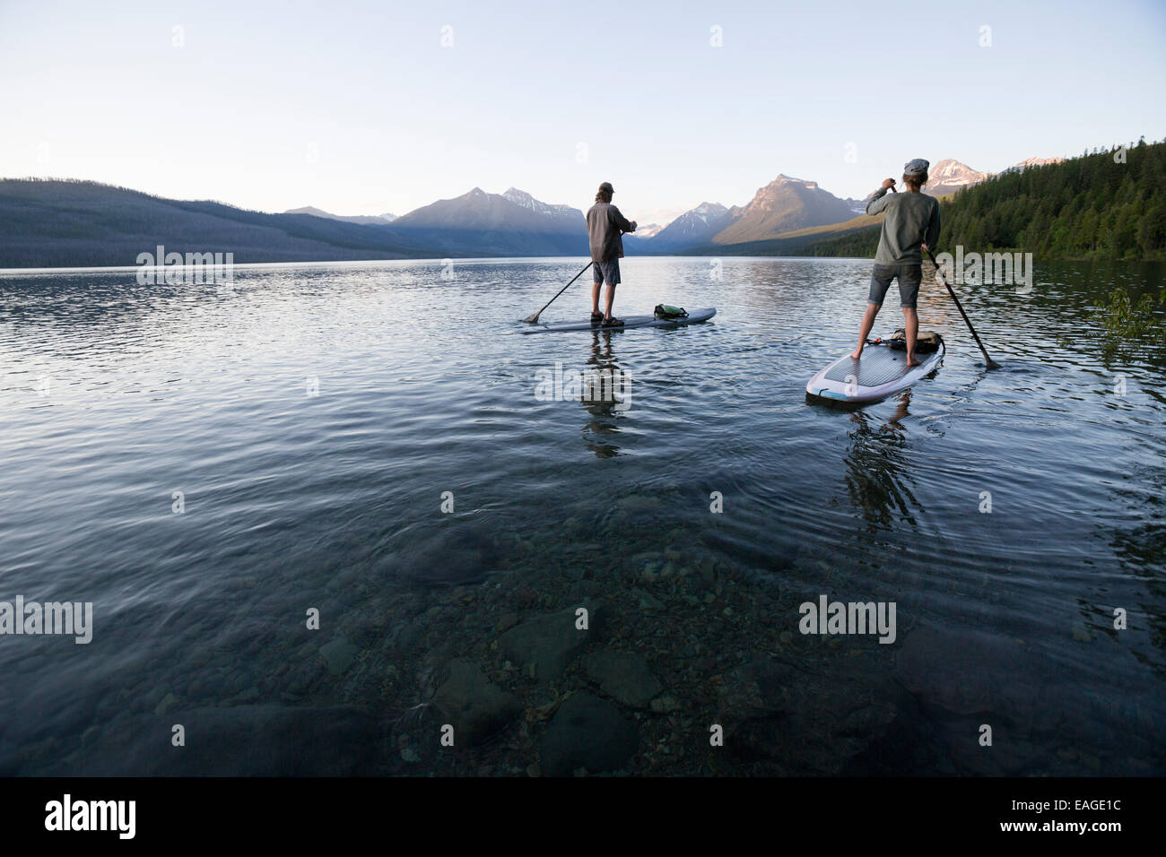 A man and woman stand up paddle boards (SUP) on Lake McDonald in Glacier National Park. Stock Photo