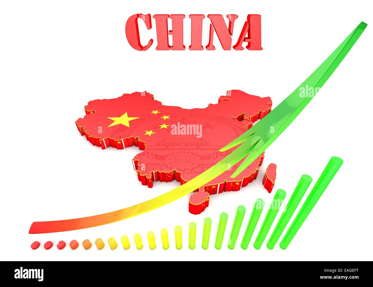 3D map of China in Chinese flag colors. - Stock Image