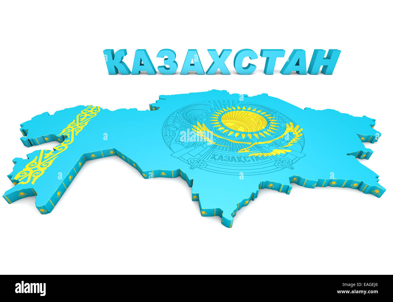 3d Map Illustration Of Kazakhstan With Flag And Coat Of Arms Stock