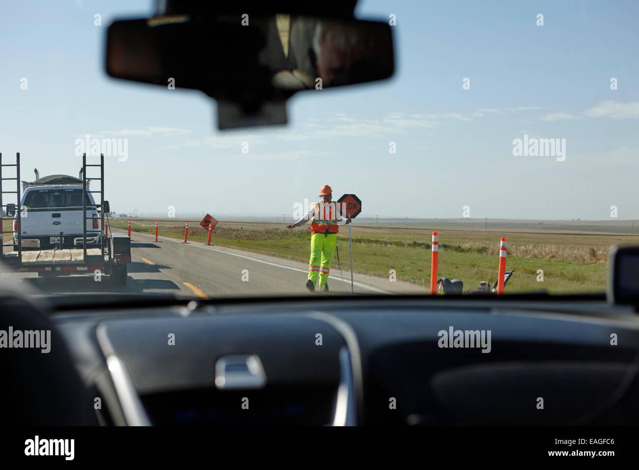 driving through highway construction work Saskatchewan Canada - Stock Image