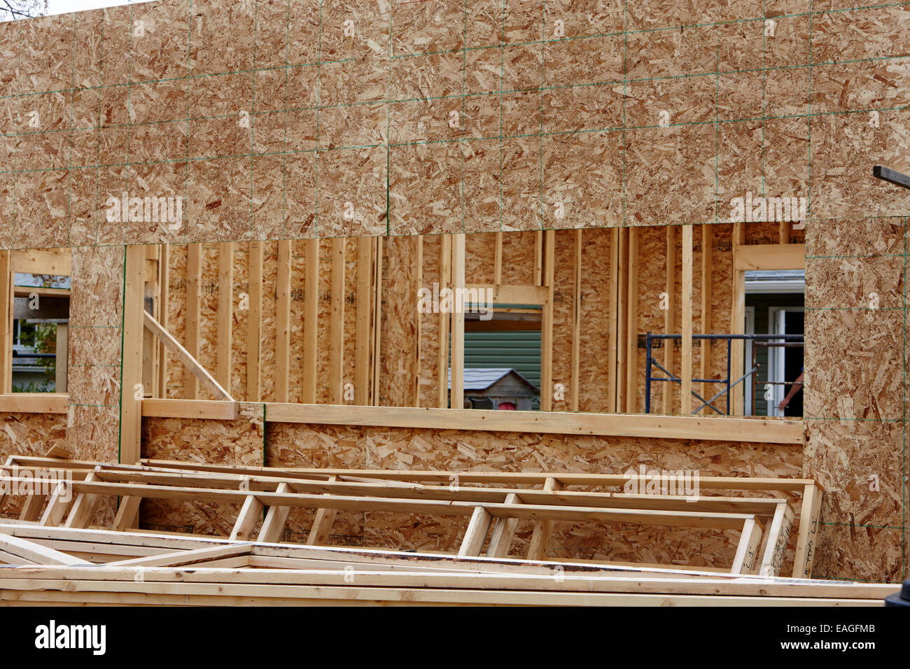 typical timber framed house construction with sheet panels Saskatchewan Canada - Stock Image