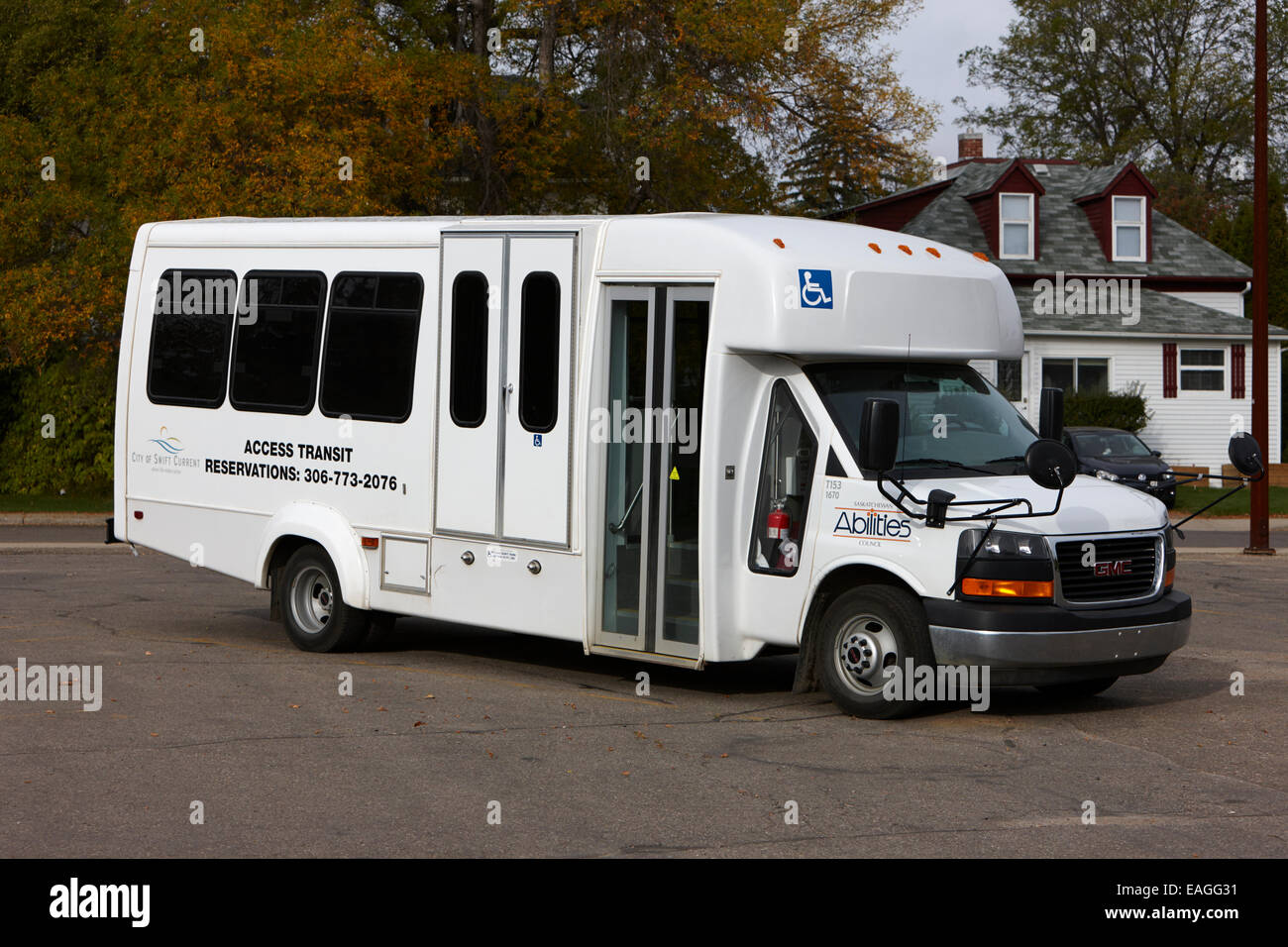 access transit bus owned by local city authority swift current Saskatchewan Canada - Stock Image