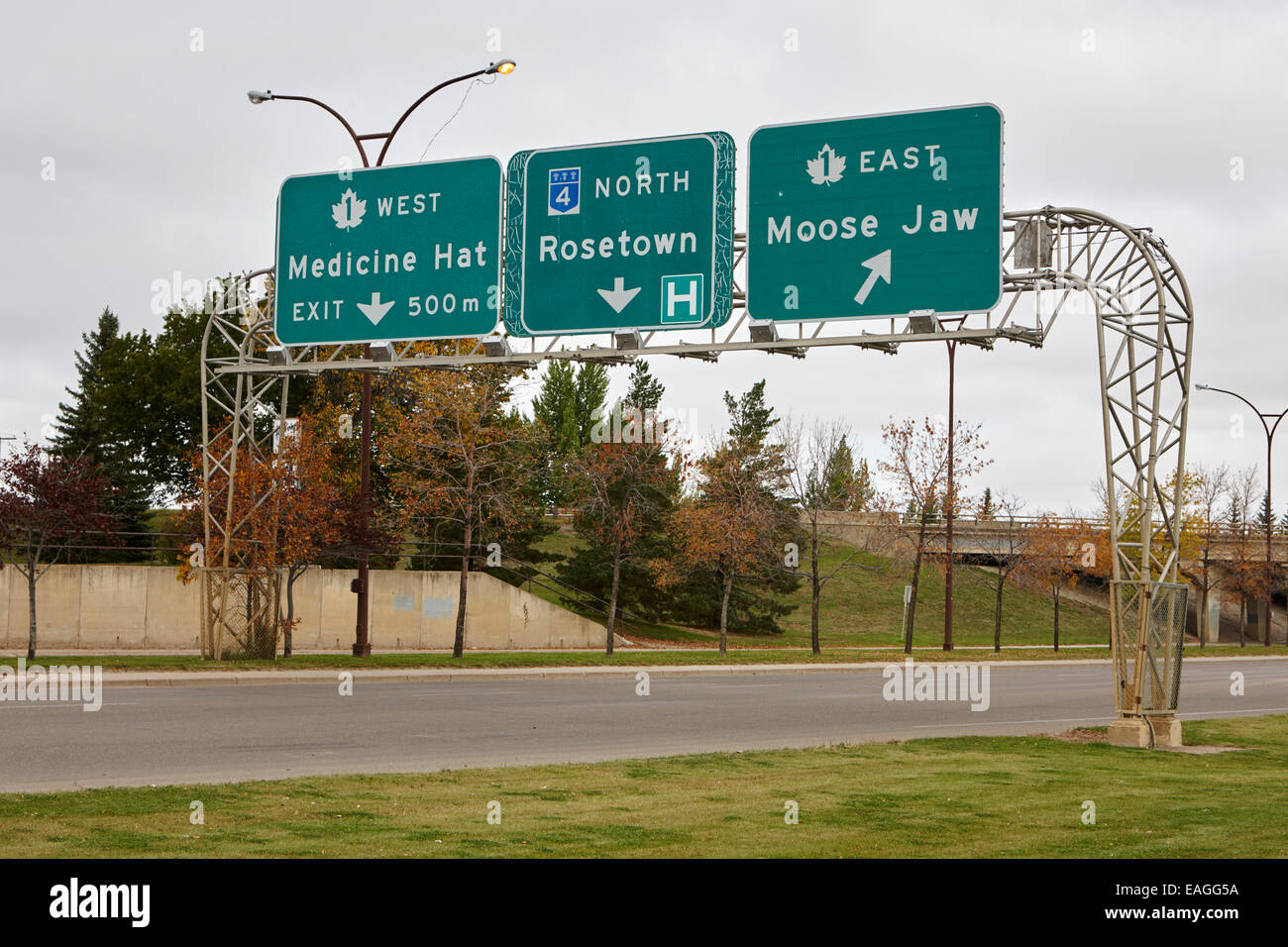 highway 1 intersection directions swift current Saskatchewan Canada - Stock Image