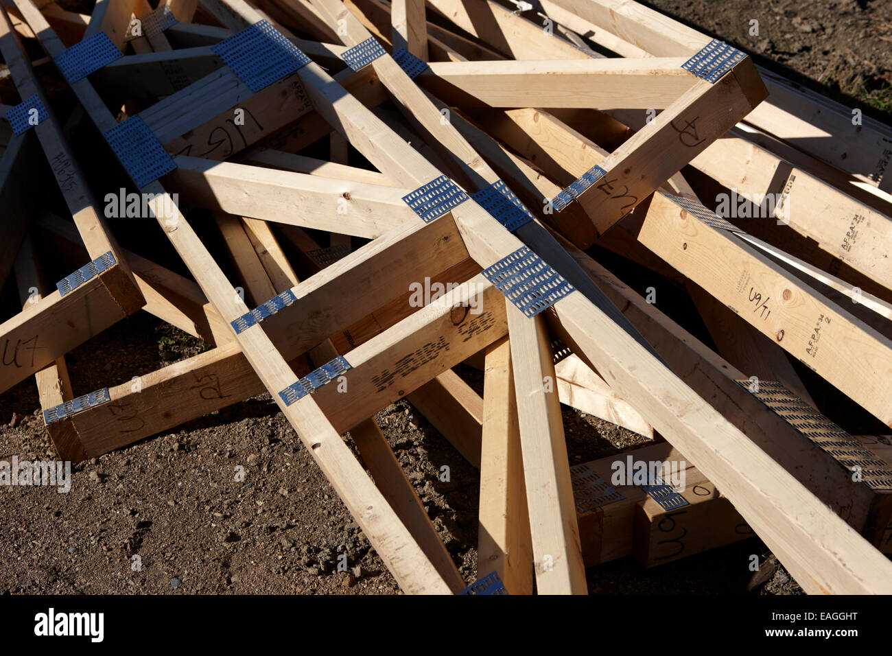 typical timber framed house construction frames Saskatchewan Canada Stock Photo