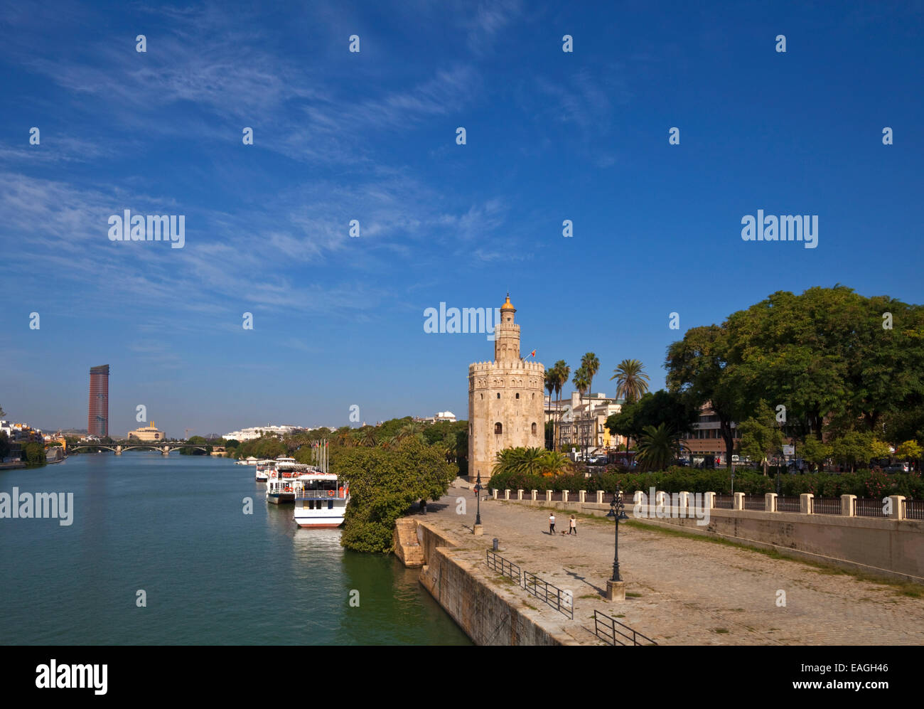"""The Torre del Oro or """"Gold Tower"""" military watchtower erected by the Almohad Caliphate in 1220-1221, Seville,  Andalucia, Stock Photo"""