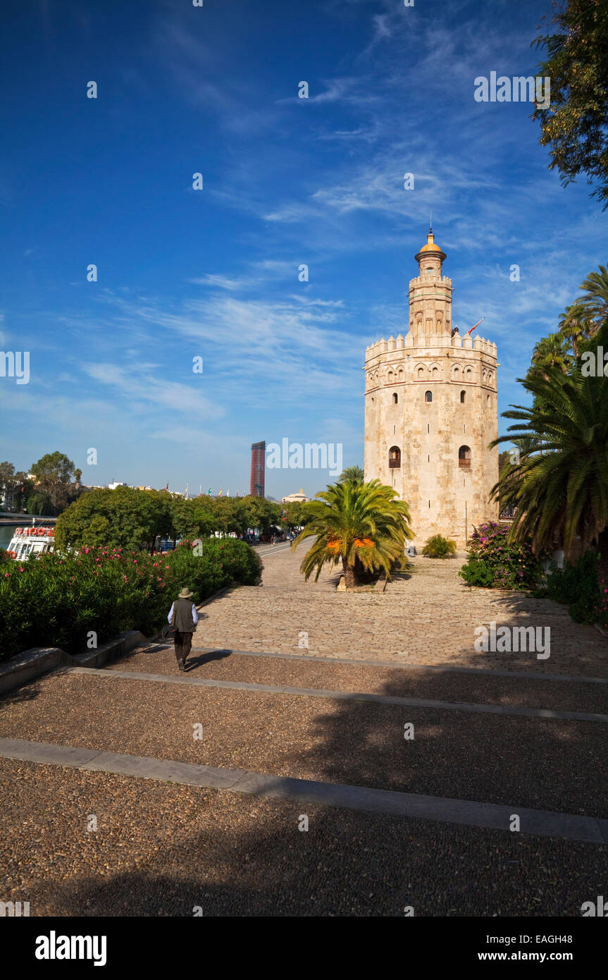 """The Torre del Oro or """"Gold Tower"""" military watchtower erected by the Almohad Caliphate, 1220-1221, Seville,  Andalucia, Stock Photo"""