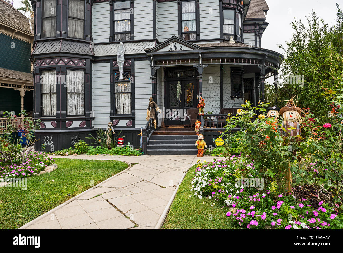 The beautiful Victorian Houses on Carroll Avenue in Echo Park. - Stock Image