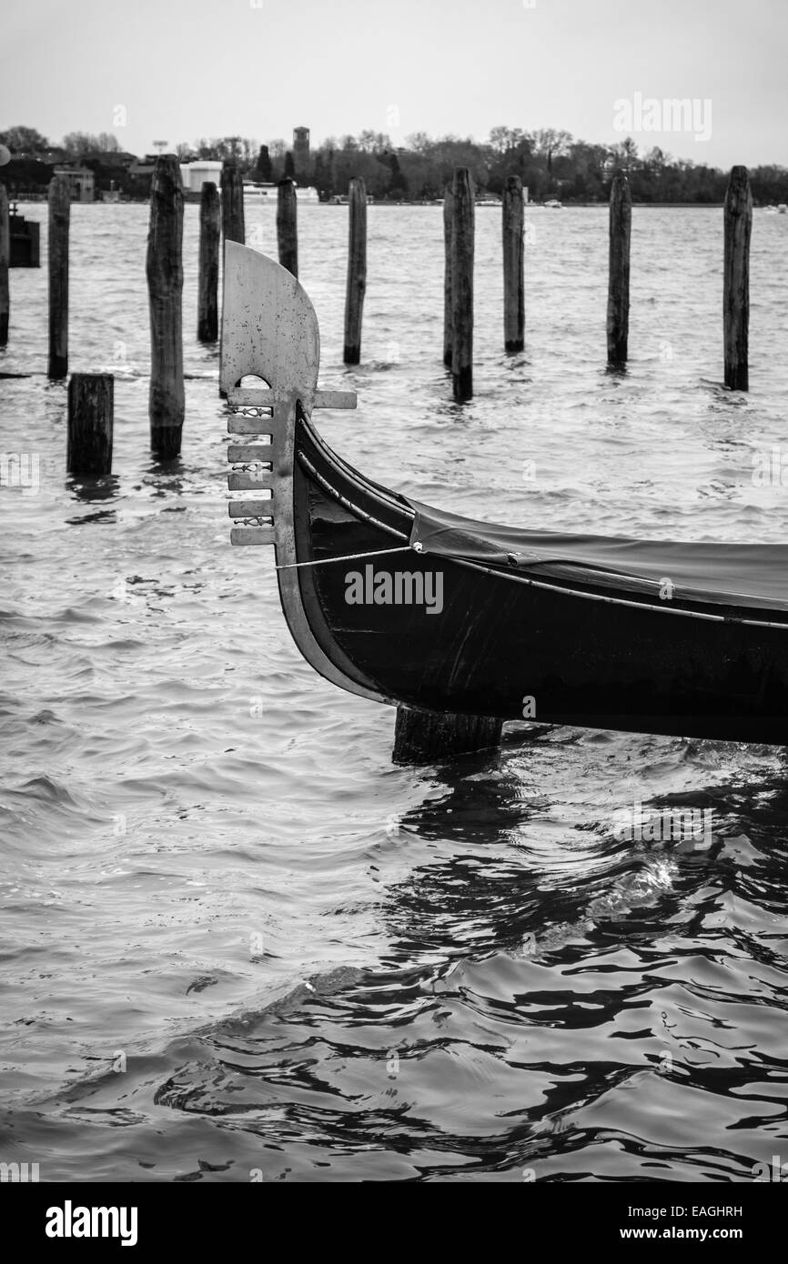 Detail from beautiful parked gondola in Venice, Italy. - Stock Image