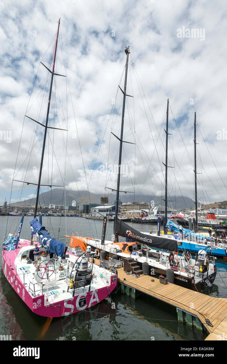 Sailor at top of mast, Volvo Ocean Race 2014-2015, Cape Town, South Africa - Stock Image