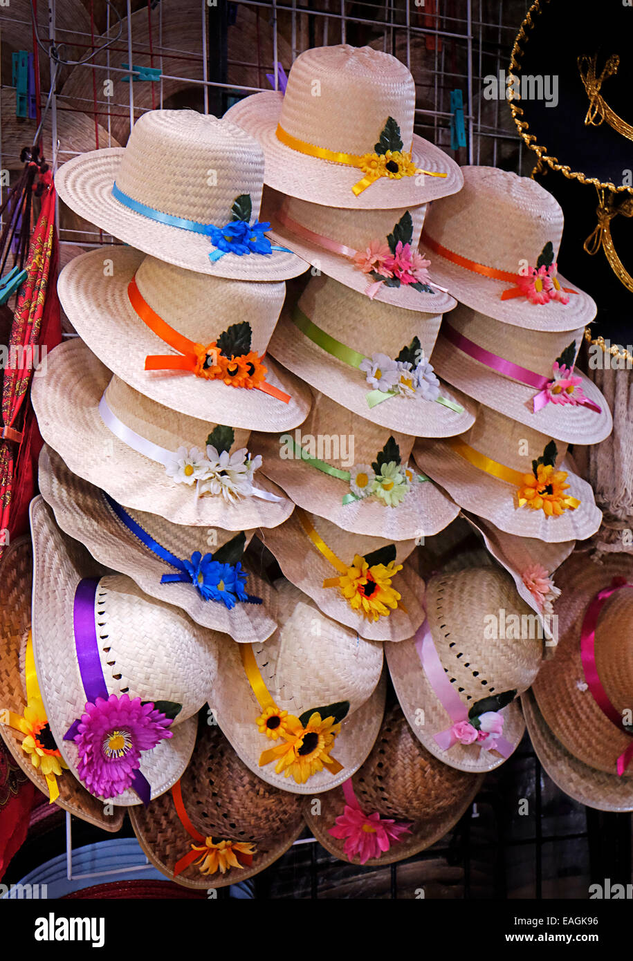 Ladies hats Sombreros Indoor Market Mexico - Stock Image