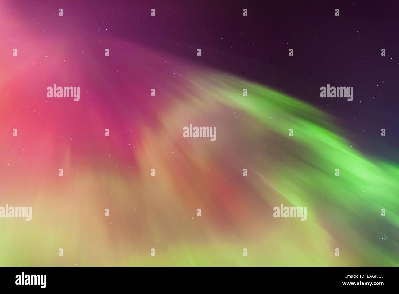 Purple,Phenomena,Northern Lights,Green,Sky - Stock Image