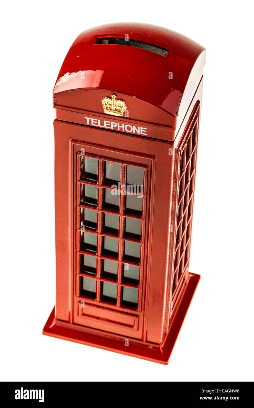 a typical english red phone booth isolated over a white background - Stock Image