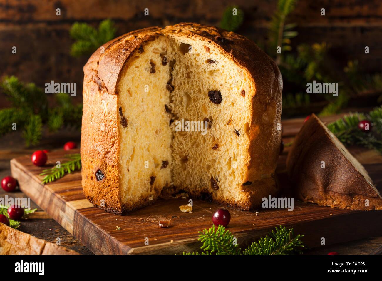 Homemade Panettone Fruit Cake Ready for Christmas - Stock Image
