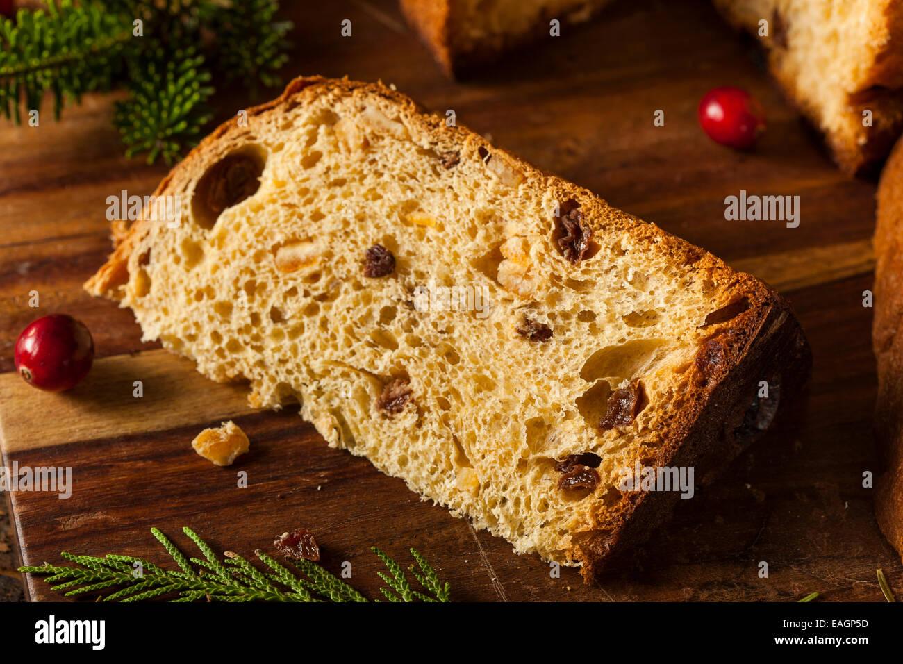 Homemade Panettone Fruit Cake Ready for Christmas Stock Photo