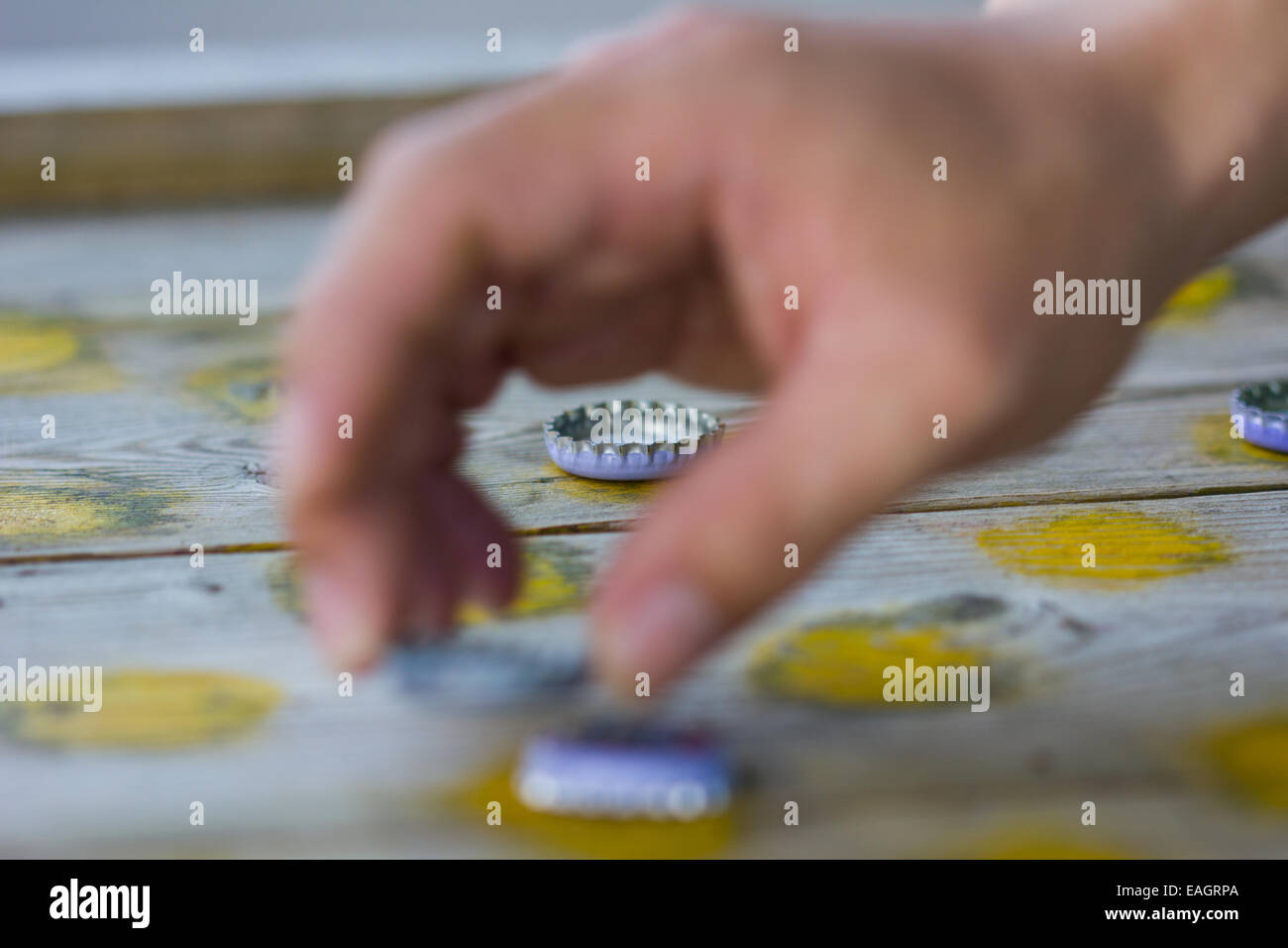 pointing draughts or checkers board game Stock Photo