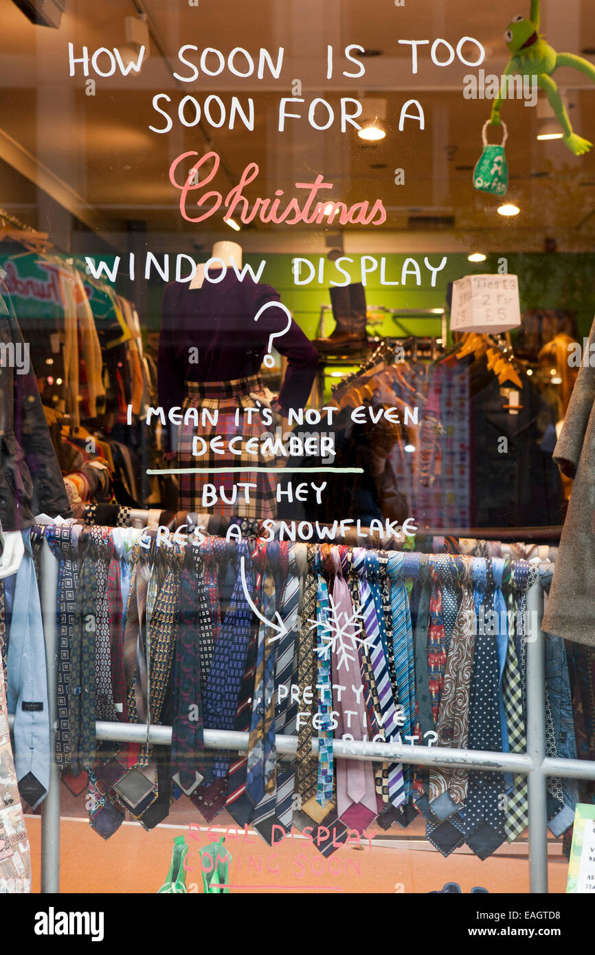 Early November Shop window _How soon is too soon for Christmas, December, Manchester, UK - Stock Image