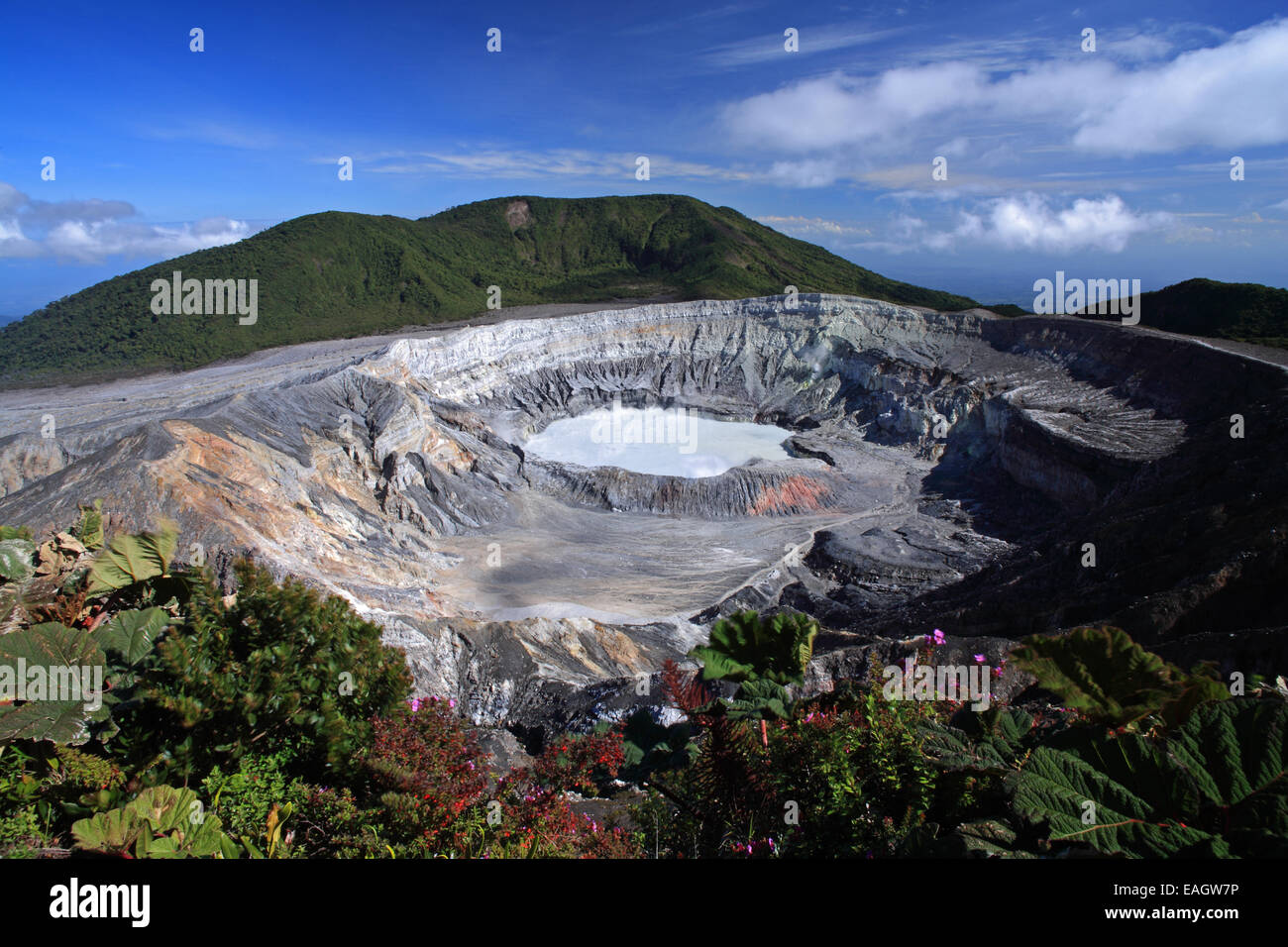 Active Crater of Poas Volcano, Alajuela, Costa Rica. - Stock Image