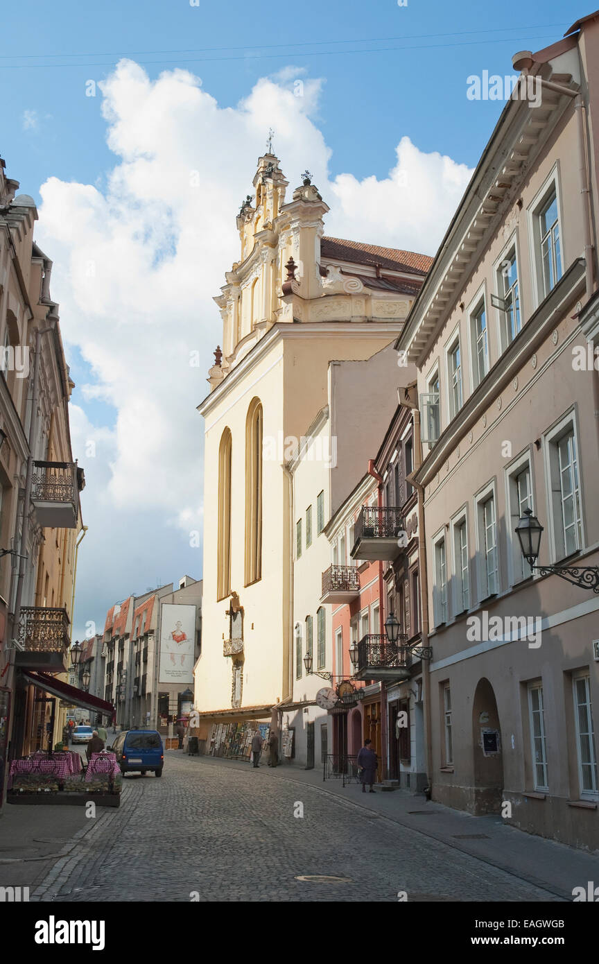 Plies Street And Rear Of St. John's Church, Vilnius, Lithuania - Stock Image