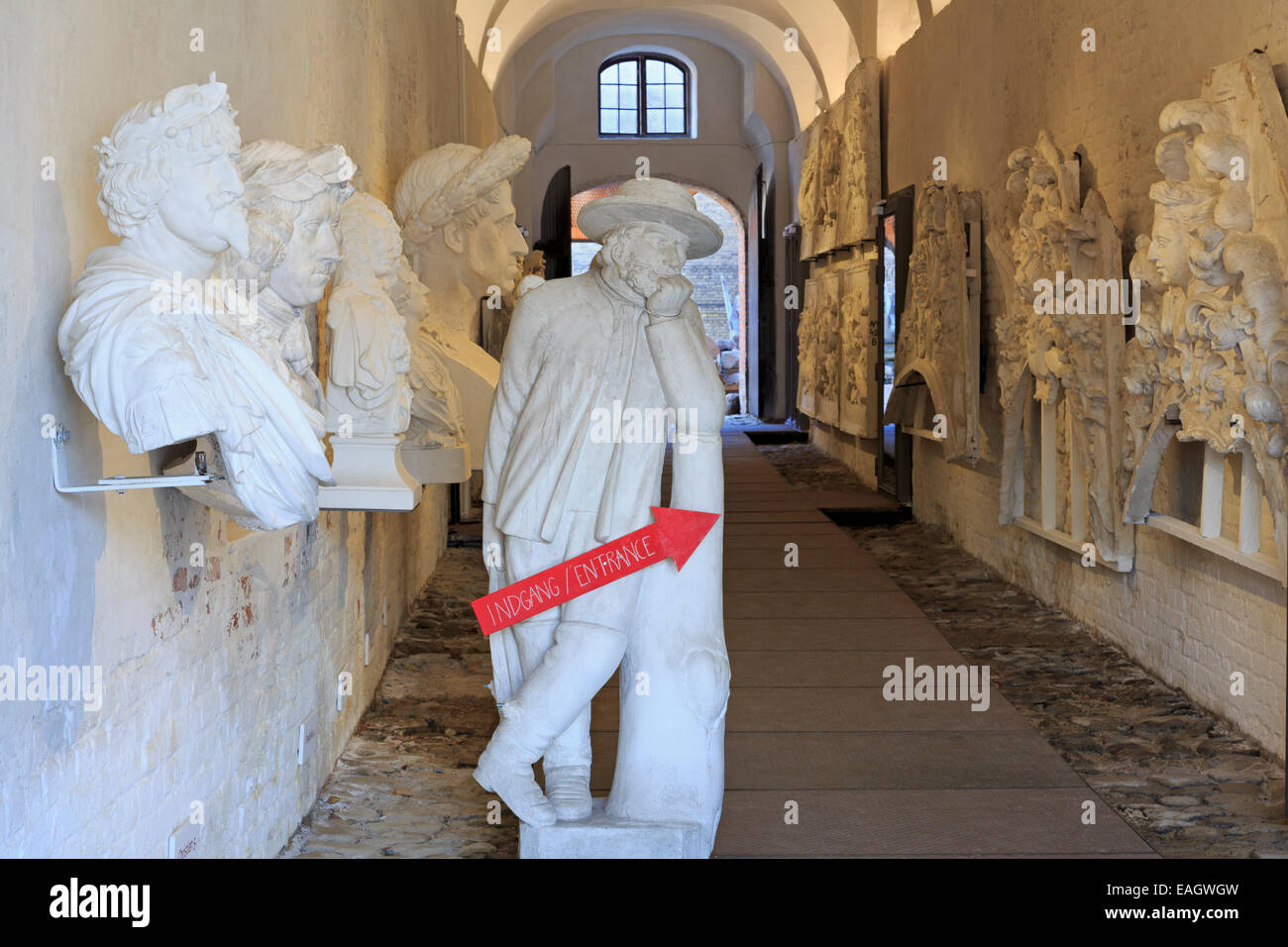 The Lapidarium of Kings Museum, Christian IV's Brew House, Slotsholmen, Copenhagen, Zealand, Denmark, Europe - Stock Image