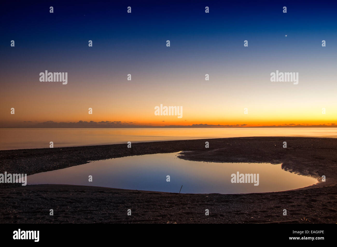 Calmness after the sunset Greece - Stock Image