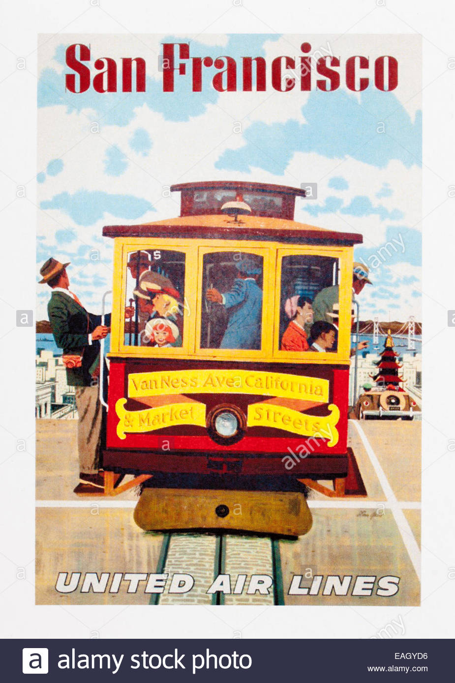 Vintage Travel Poster Advertising San Francisco By United Air Lines Stock Photo Alamy