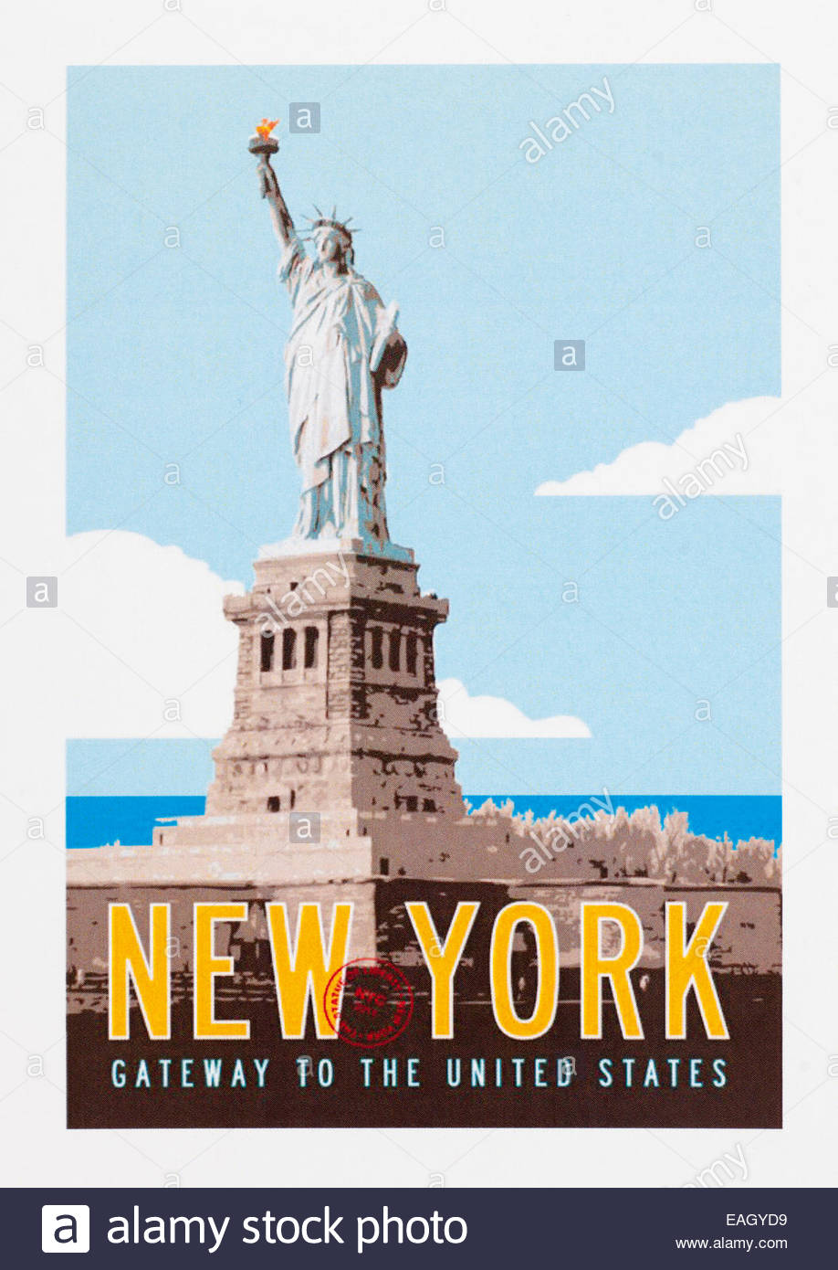 vintage travel poster advertising new york gateway to the united stock photo 75360805 alamy. Black Bedroom Furniture Sets. Home Design Ideas