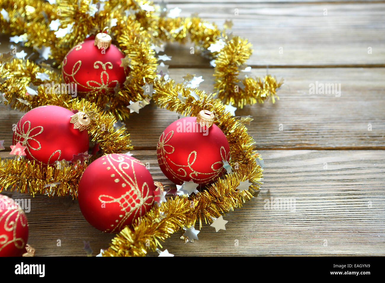 Christmas balls with tinsel, new year - Stock Image