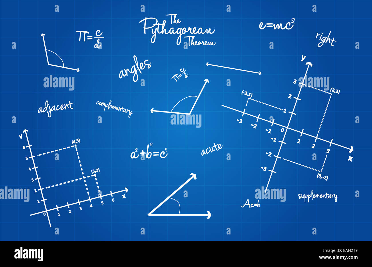mathematical geometry signs on blueprint background stock