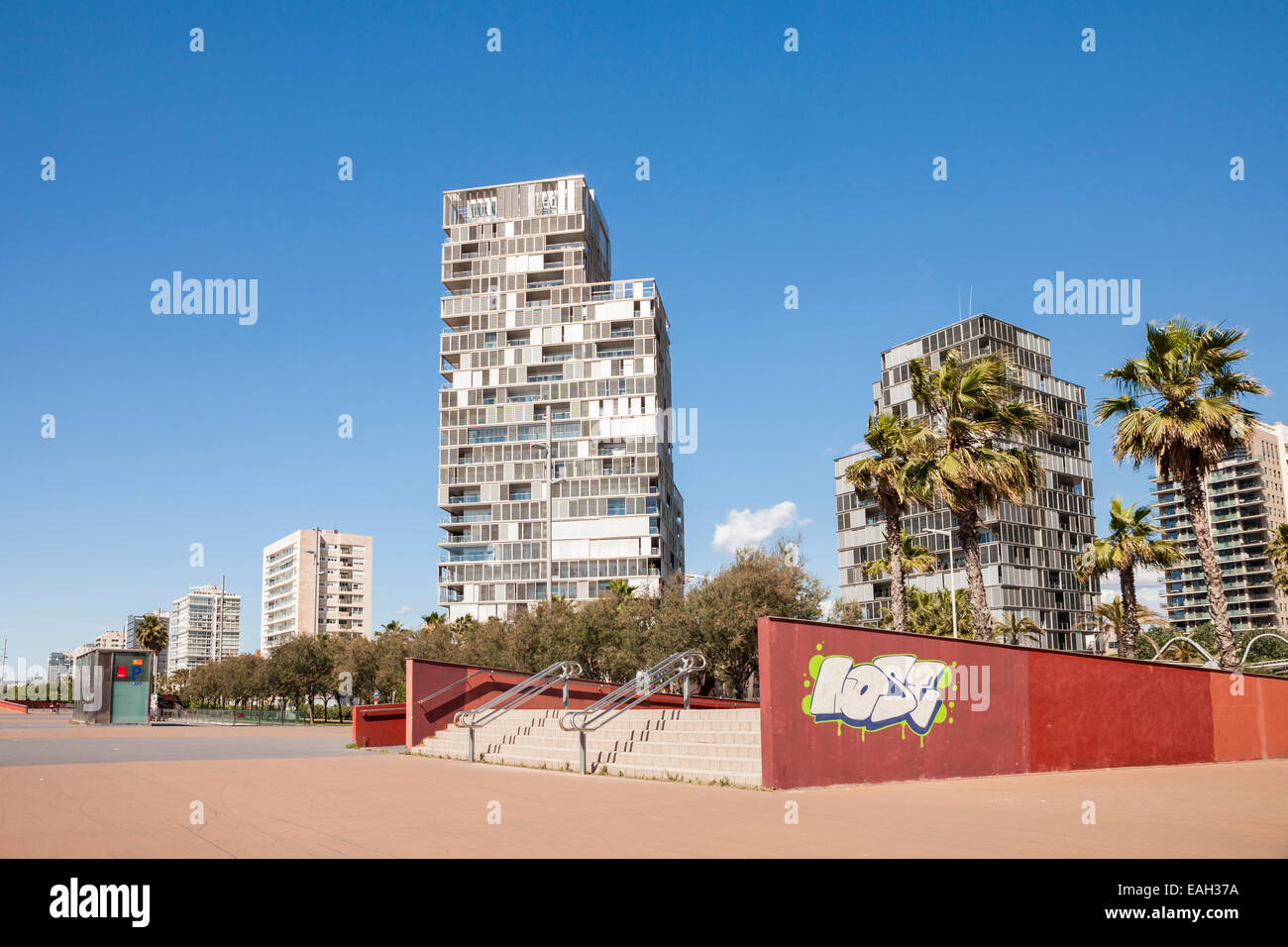 Poble Nou quarter near Bogatell beach, Barcelona, Spain - Stock Image
