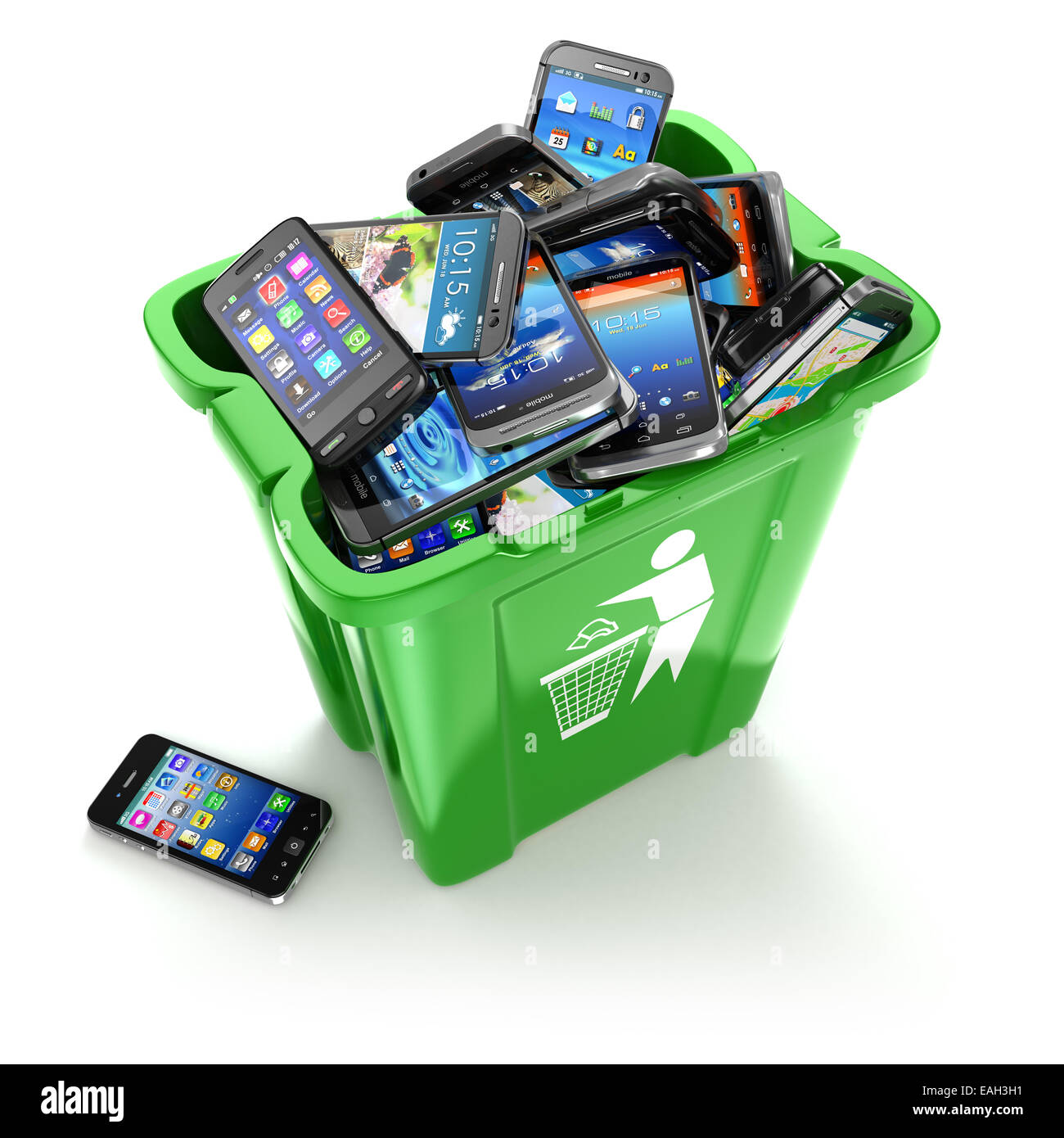 Mobile phones in trash can isolated on white background. Utilization cellphones concept. 3d - Stock Image