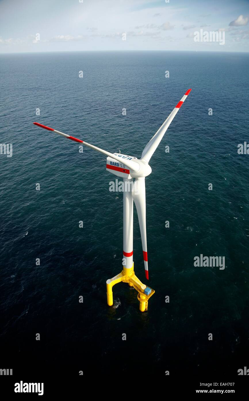 Offshore wind turbine BARD 5.0 installed at the offshore wind farm Bard Offshore 1 in the German Blight September - Stock Image