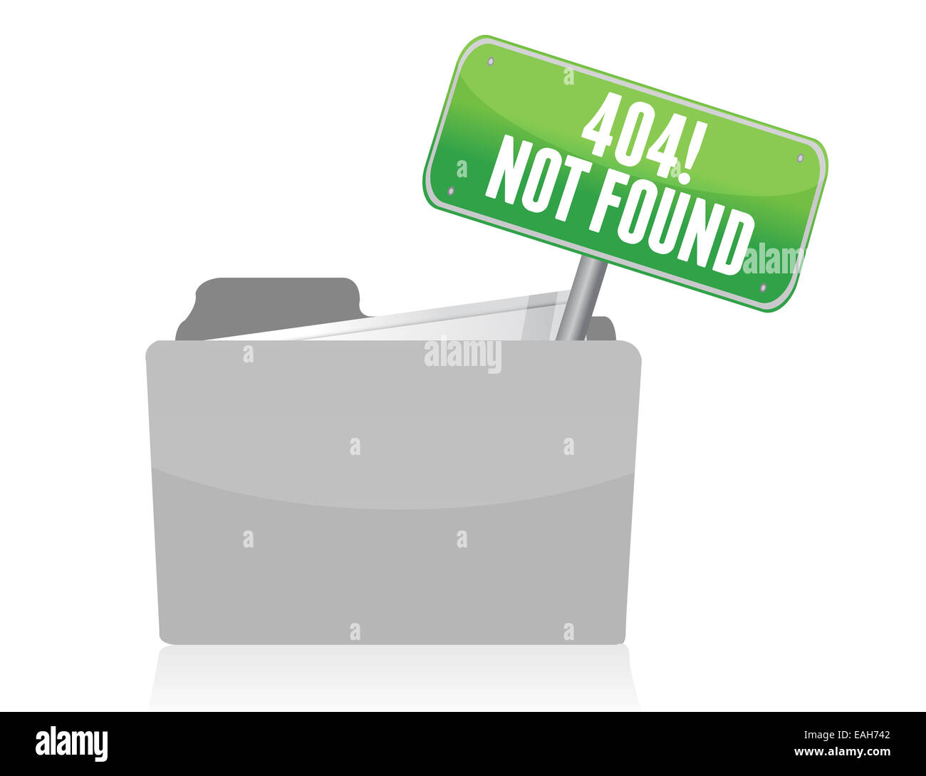 Page not found sign illustration design over white - Stock Image