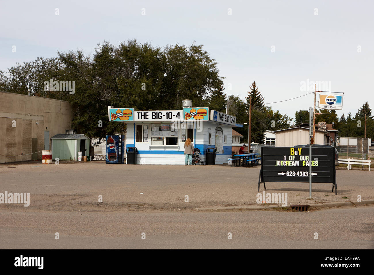 small roadside diner leader Saskatchewan Canada - Stock Image