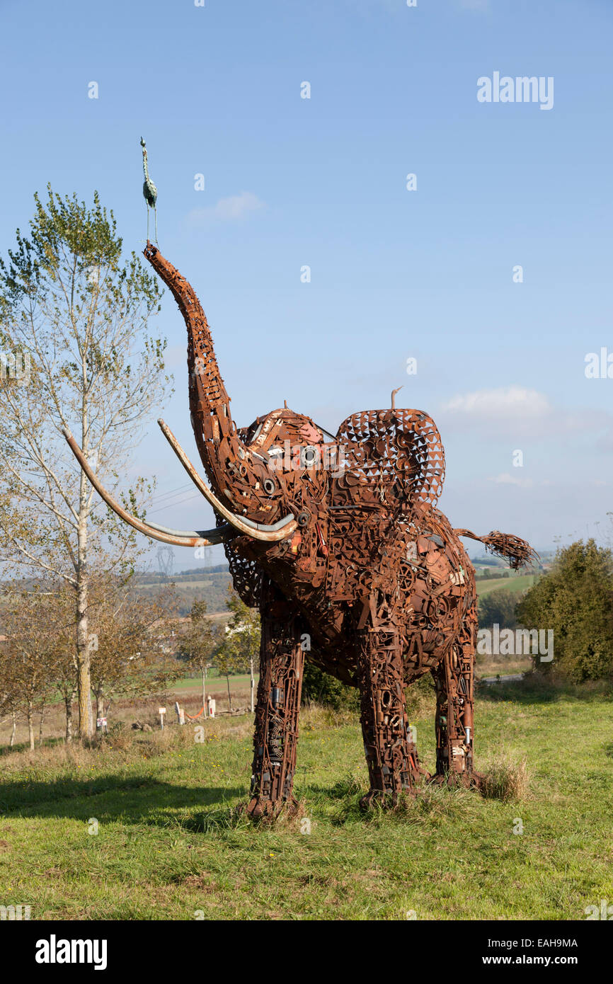 The sculpture of an elephant designed by the craftsman in wrought iron Andre Debru (Costes-Gozon - Aveyron - France). - Stock Image