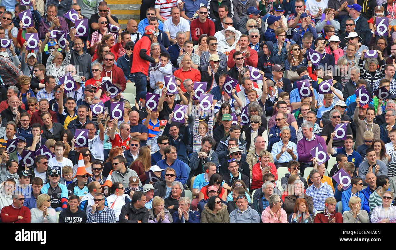 Fans hold up 'Six' signs on NatWest T20 Blast Finals Day at Edgbaston in 2014 - Stock Image